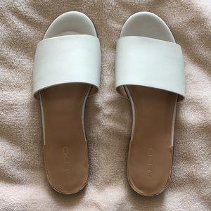 Aldo white leather slide sandals, size 8